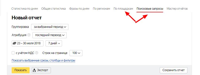 Отчеты в Яндекс Директ